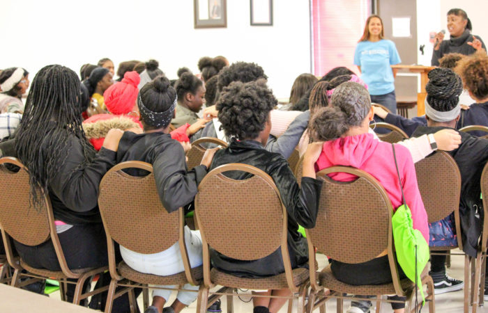 Students in the Big Sister-Little Sister project group start with an icebreaker led by DPS team member Sylvia Bookhardt.
